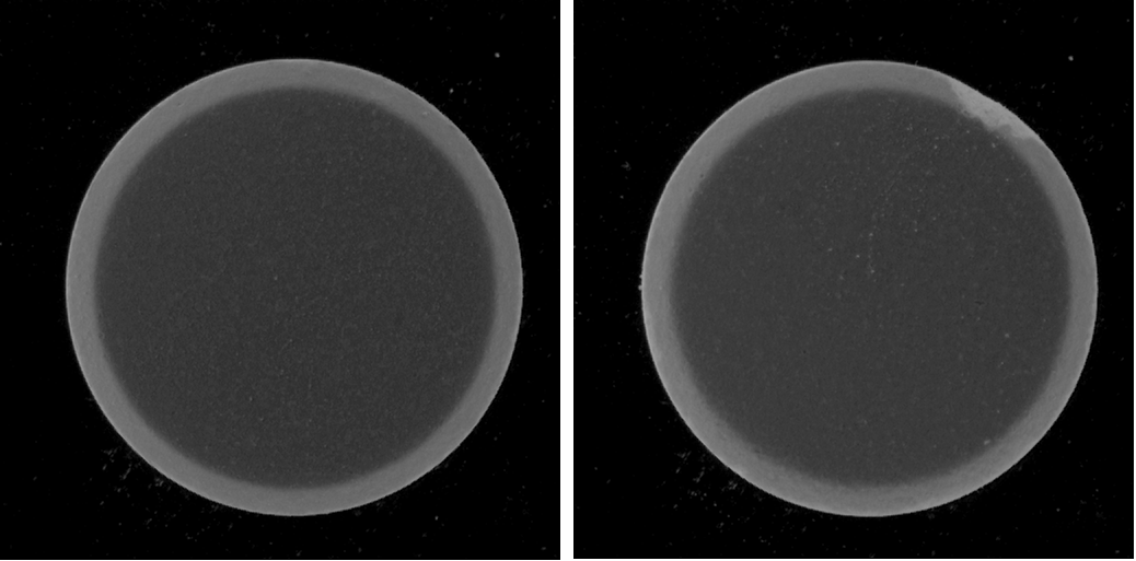 Figure 1: Examples of images from the dataset showing a normal pill (left) and a defective pill (right).